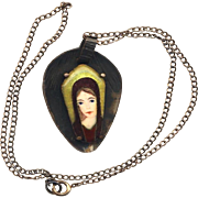 Necklace--Large Limoges and Cloisonne Enamel Young Woman in Dark Patinated Copper