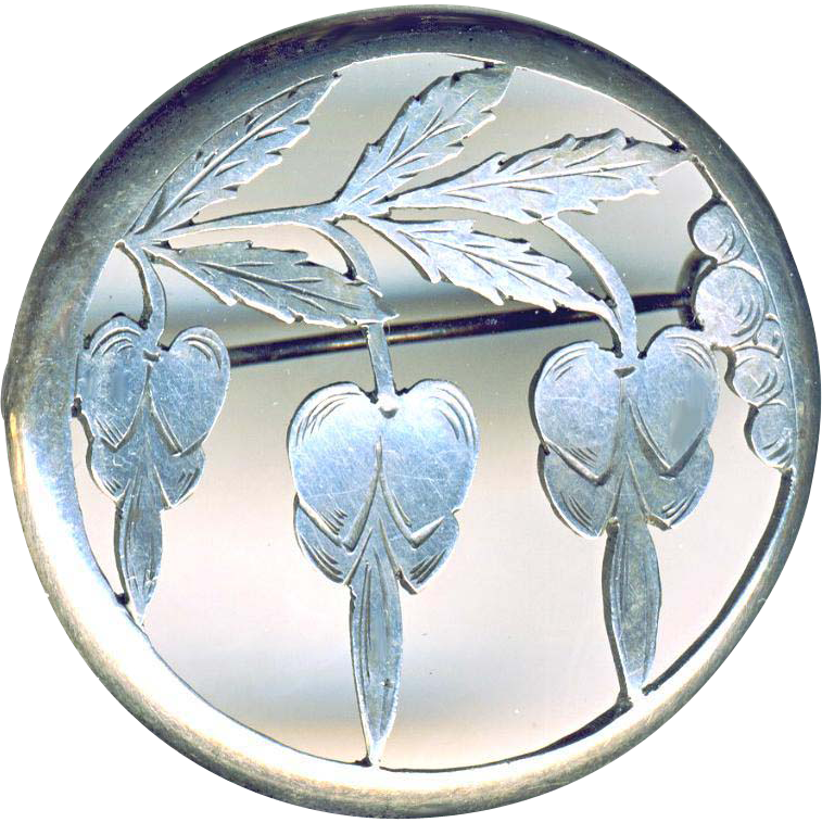 Brooch--Large Victorian Hand Pierced Engraved 0.900 Silver Bleeding Hearts