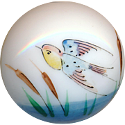 Button--Mid-19th C. Hand Painted Enamel Milk White Glass Marsh Bird