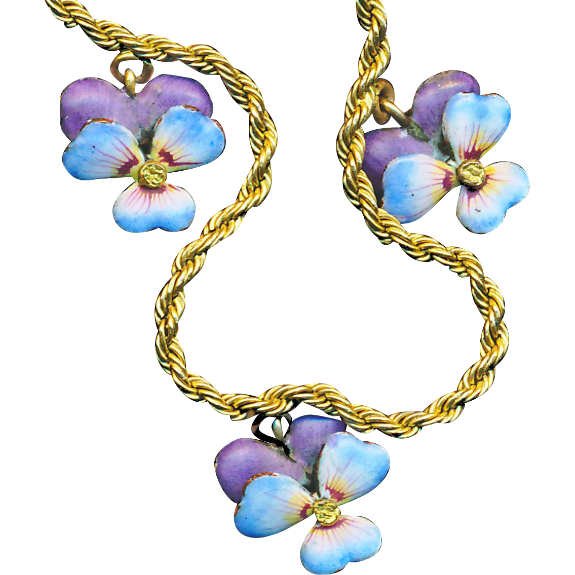 Necklace--Vintage Enamel Pansies or Violets on Gold-filled Metal with 15 Inch Chain