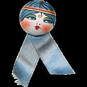 Button--Early 20th C. Silk Garter Flapper