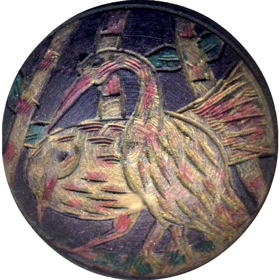 Button--Large Vintage Domed Carved Tinted Wood Marsh Birds--Great Design