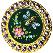 Button--Very Large Late 19th C. Painterly Honey Bee and Flowers Enamel in Cut Steels