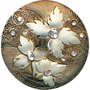 Button ~ Gorgeous Large Late 19th C. Silvery Sepia Foliate Lacy Glass
