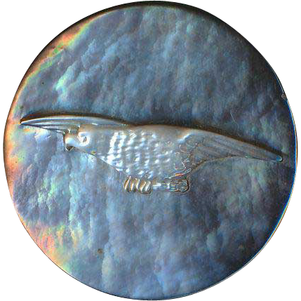 Button ~ Large Vintage Hand Carved Pearl Flying American Eagle