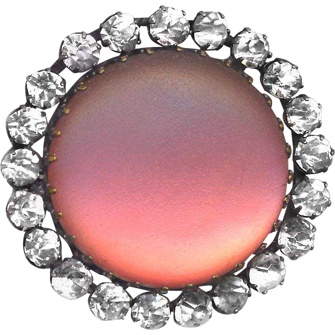 Button ~ Large Late 19th C. Matte Satin Finish Pink Glass in Rhinestones