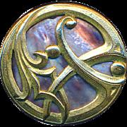 Button ~ Large Arts & Crafts Iridecent Pearl Under Whiplash Motif Brass