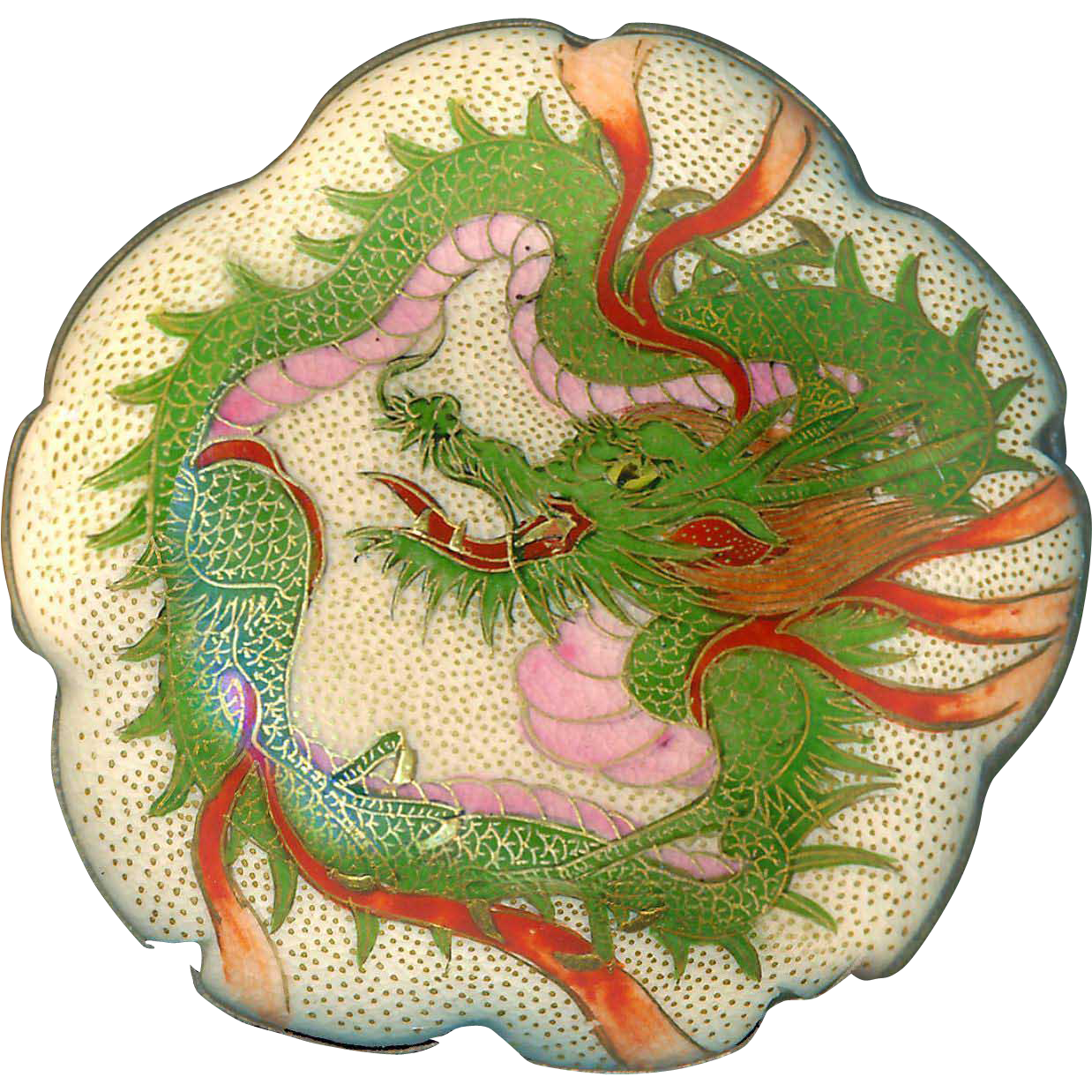 Button--Very Large 10-lobe 19th C. Satsuma Pottery Green and Pink Dragon in White Metal