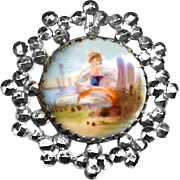 Button--19th C. Hand Painted Porcelain Pastoral Scene in Tiny Bright Cut Steel Border