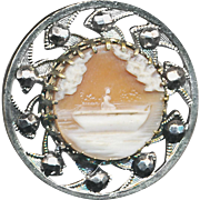 Button--19th C. Shell Cameo Lady in Boat Afloat in White Metal & Cut Steels