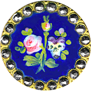 Button--19th C. Hand Painted Enamel Rose and Pansy on Cobalt Blue in Cut Steel