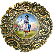 Button--Very Large Late 19th C. Heavy Rococo Brass & Enamel Shepherdess