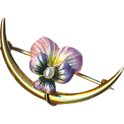 Pin--Small Early 20th C. Gold Art Nouveau Honeymoon Iridescent Enamel Pansy with Pearl