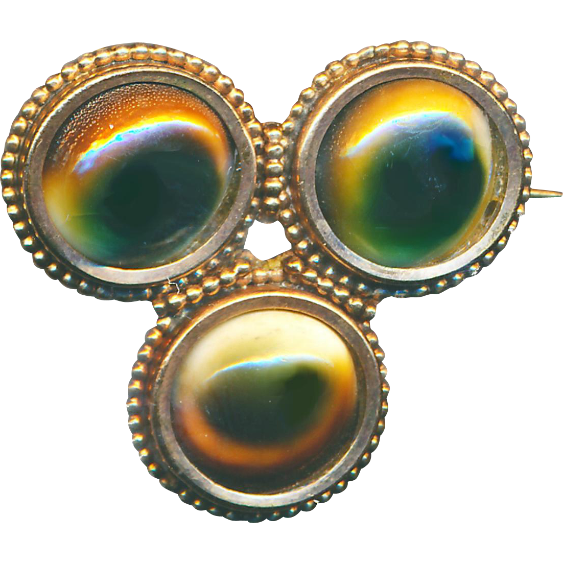 "Brooch--Late 19th C. Shell Operculum ""God Eyes"" in Gold-plated Brass"