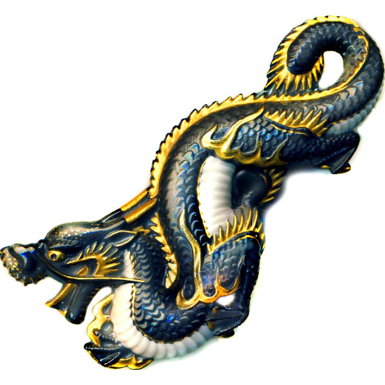 Brooch--Large Vintage Toshikane Arita Porcelain Black & Gold Dragon