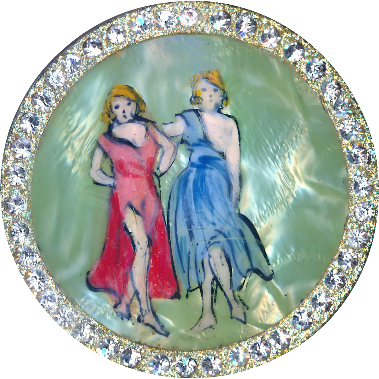 Brooch--Extra Large Jeweled Vintage Hand Painted Laminated Pearlized Celluloid Foxy Ladies