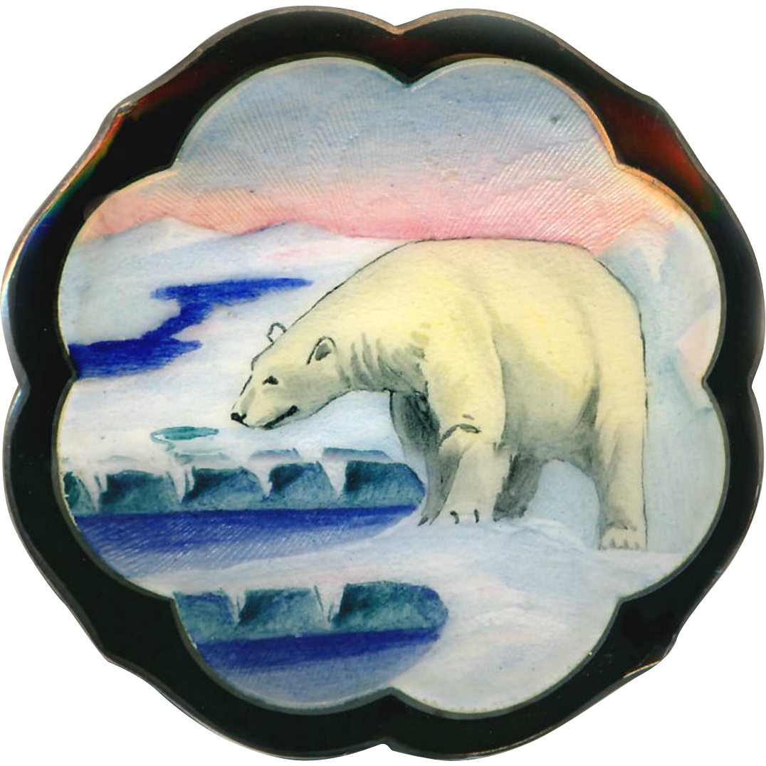 Brooch--Exquisite Scandinavian Hand Painted Enamel Polar Bear on Arctic Ice in Sterling Silver
