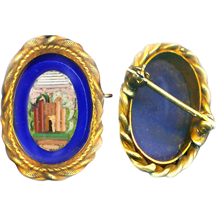 Brooch--Small 19th C. Micro Mosaic Ruin in Blue Glass & Gold-plated Brass in Excellent Shape