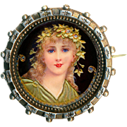 Brooch--Hand Painted Enamel or Porcelain Bacchante in Tested Silver