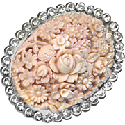 Brooch--Large Vintage Celluloid Faux Angel Skin Coral in Bright Rhinestones