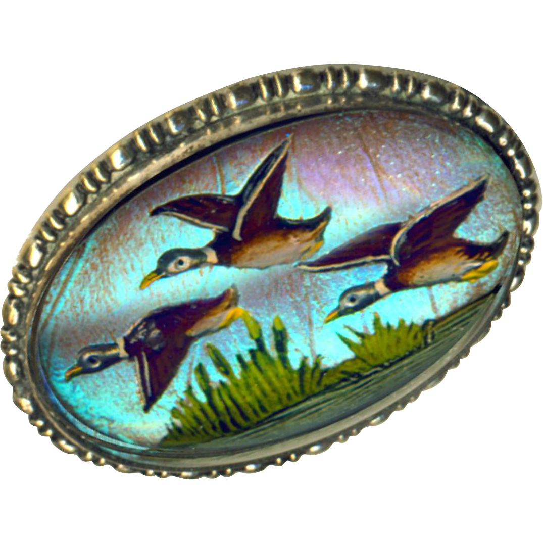 Brooch--Reverse Intaglio Painted Glass Flying Ducks on Butterfly Wing in Silver-plated Brass
