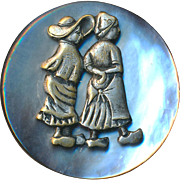 Button--Large Vintage Silver Gray Pearl with Little Dutch Girls Escutcheon