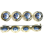 Brooch--Late 19th or Early 20th C. Ceylon Sapphire Light Blue Highly Refractive Glass in Silver-plated Brass Bar Pin