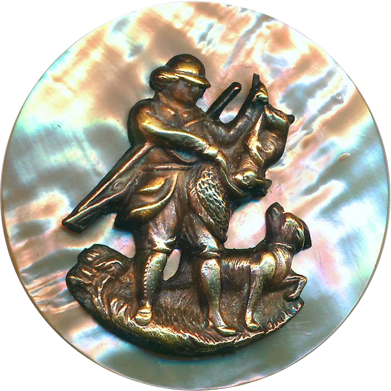 Button--Very Large 19th C. Brass Escutcheon Hunter Bagging a Hare on Red Abalone Pearl