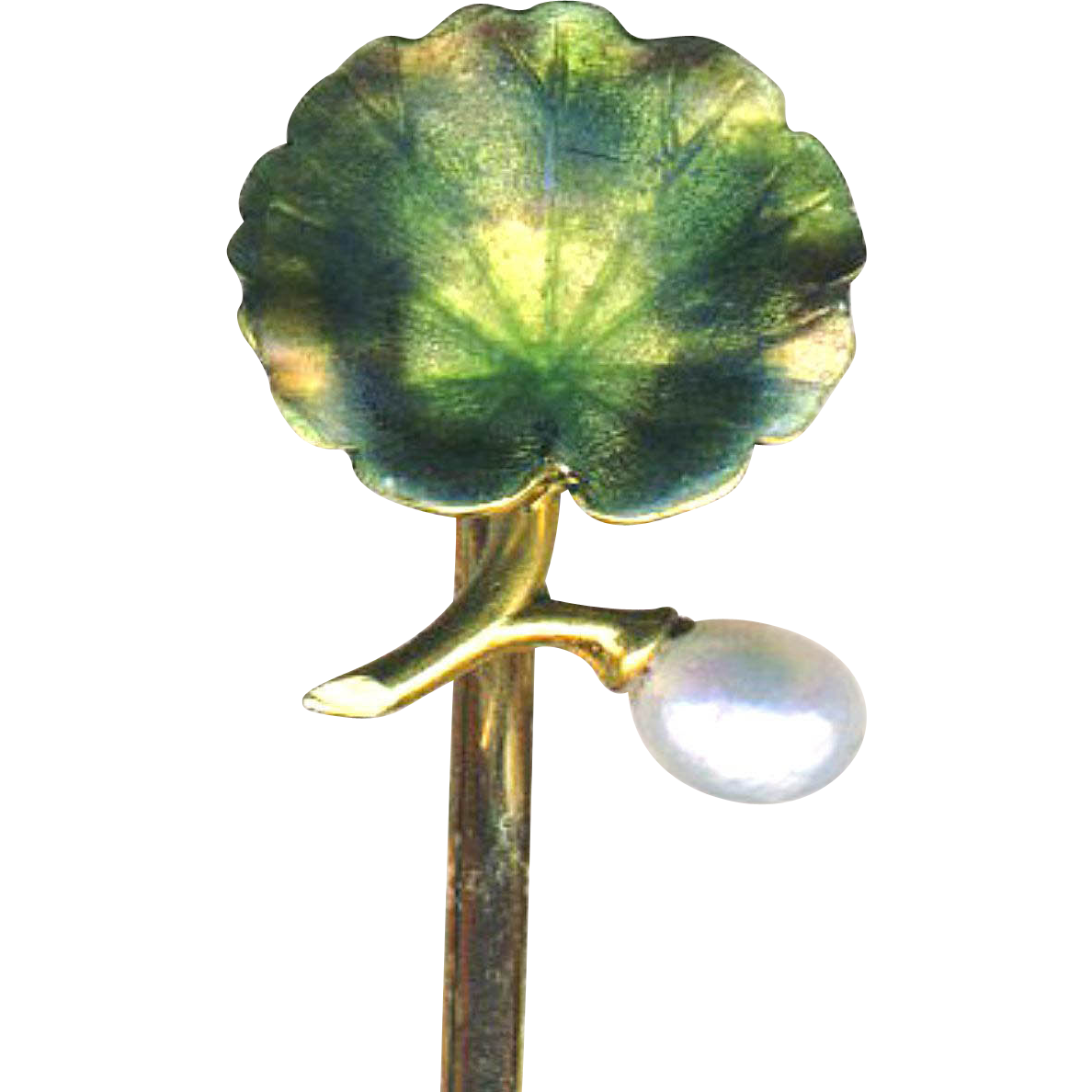 Stick Pin--Tiny Enamel Geranium Leaf and Pearl in Signed 14 Karat Gold