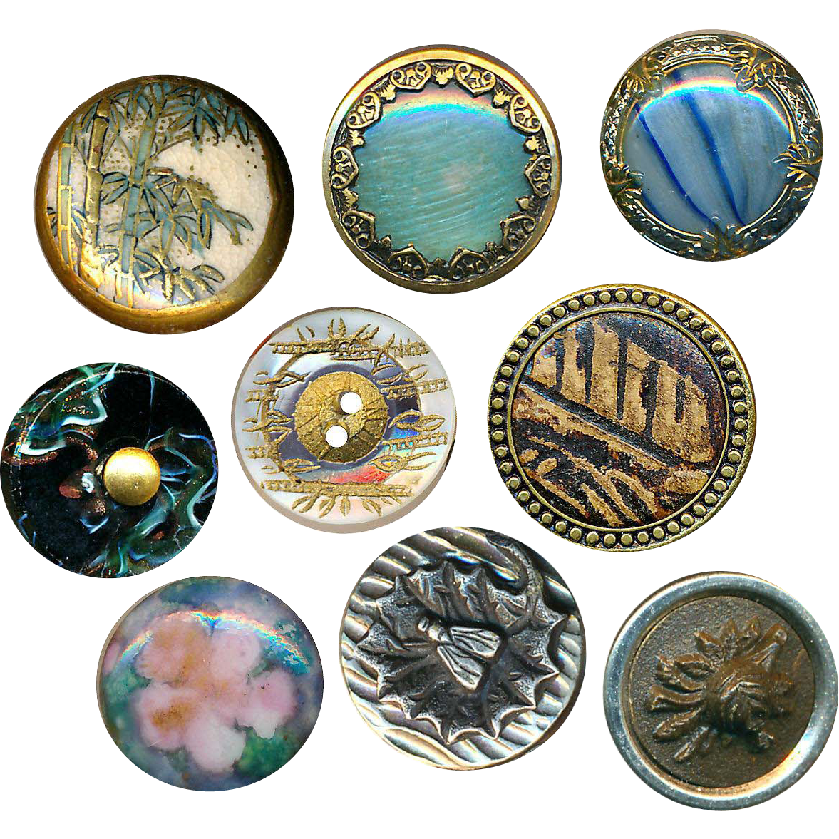 Button Poke--9 Assorted Very Fine Small Old Buttons