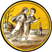 Button ~ Fine Large Mid-19th C. Monochrome on Gold Porcelain Girls Skating