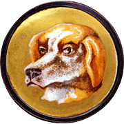 Button ~ Large Mid-19th C. Polychrome Hound on Burnished Gold Porcelain In Black Japanned Brass