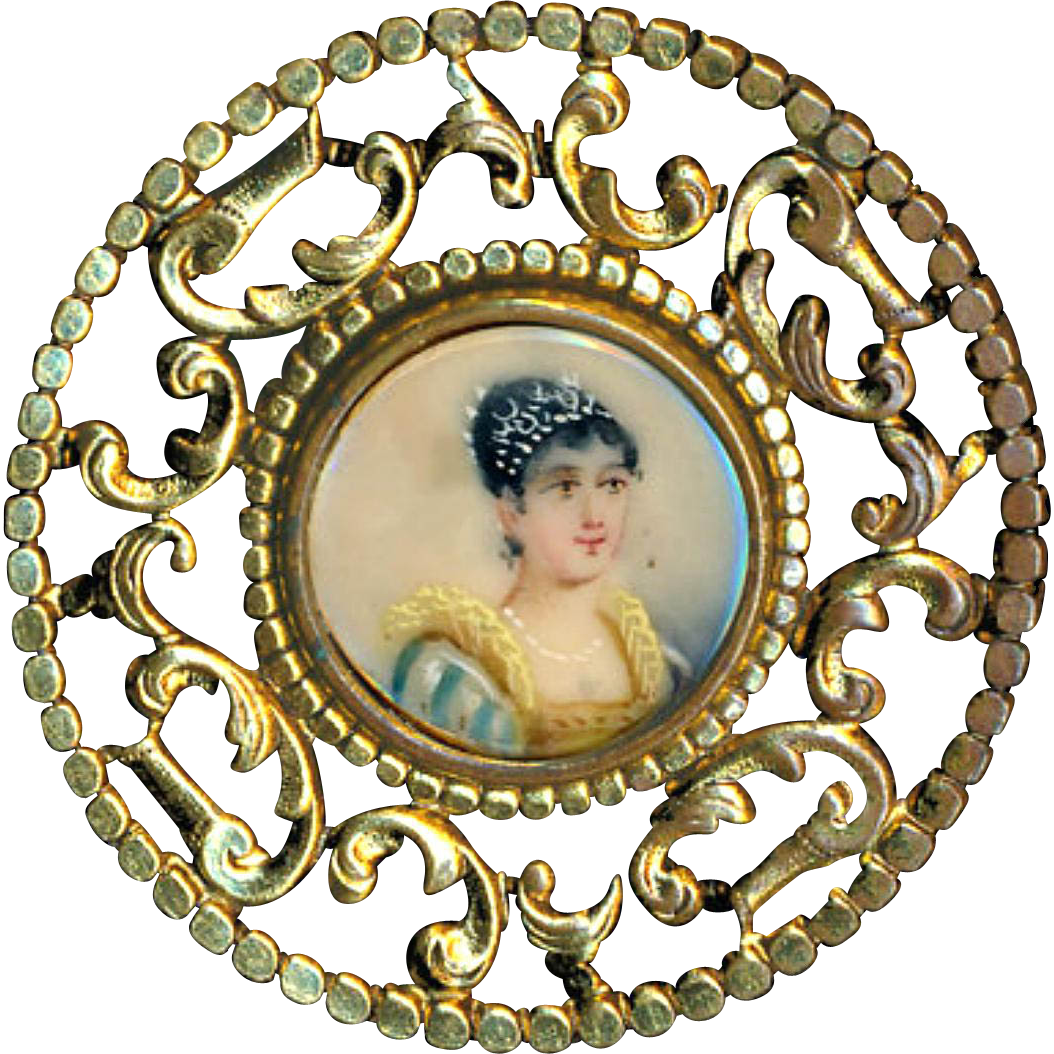 Button--Early 20th C. Very Large Open Work Brass Lady Portrait Painted Under Glass