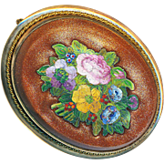 Brooch--19th C. Micromosaic Floral Bouquet in Aventurine Glass and Gold-filled Brass