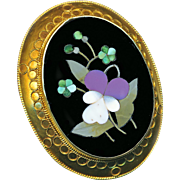Brooch--Large Mid-19th C. 18 Karat Gold Pietra Dura Pansy and Forget-me-nots with Cannetille Overlay