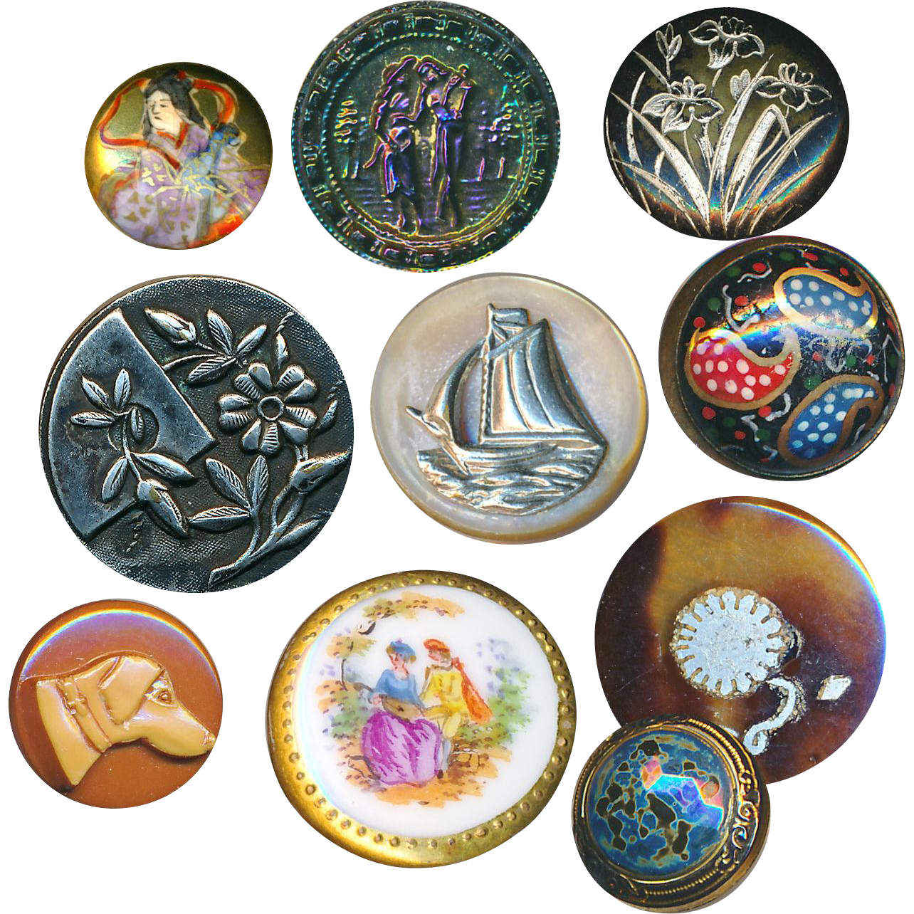 Buttons--Assorted Small Antique & Collectible Buttons
