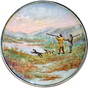Button--19th C. Hand-painted Enamel Sporting Scene in Sterling Silver--Duck Shoot
