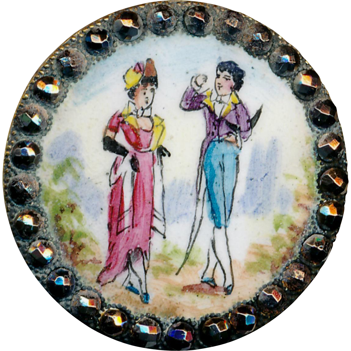 Button--Large 19th C. Incroyable & Merveilleux in Emaux Peints Enamel in Cut Steels