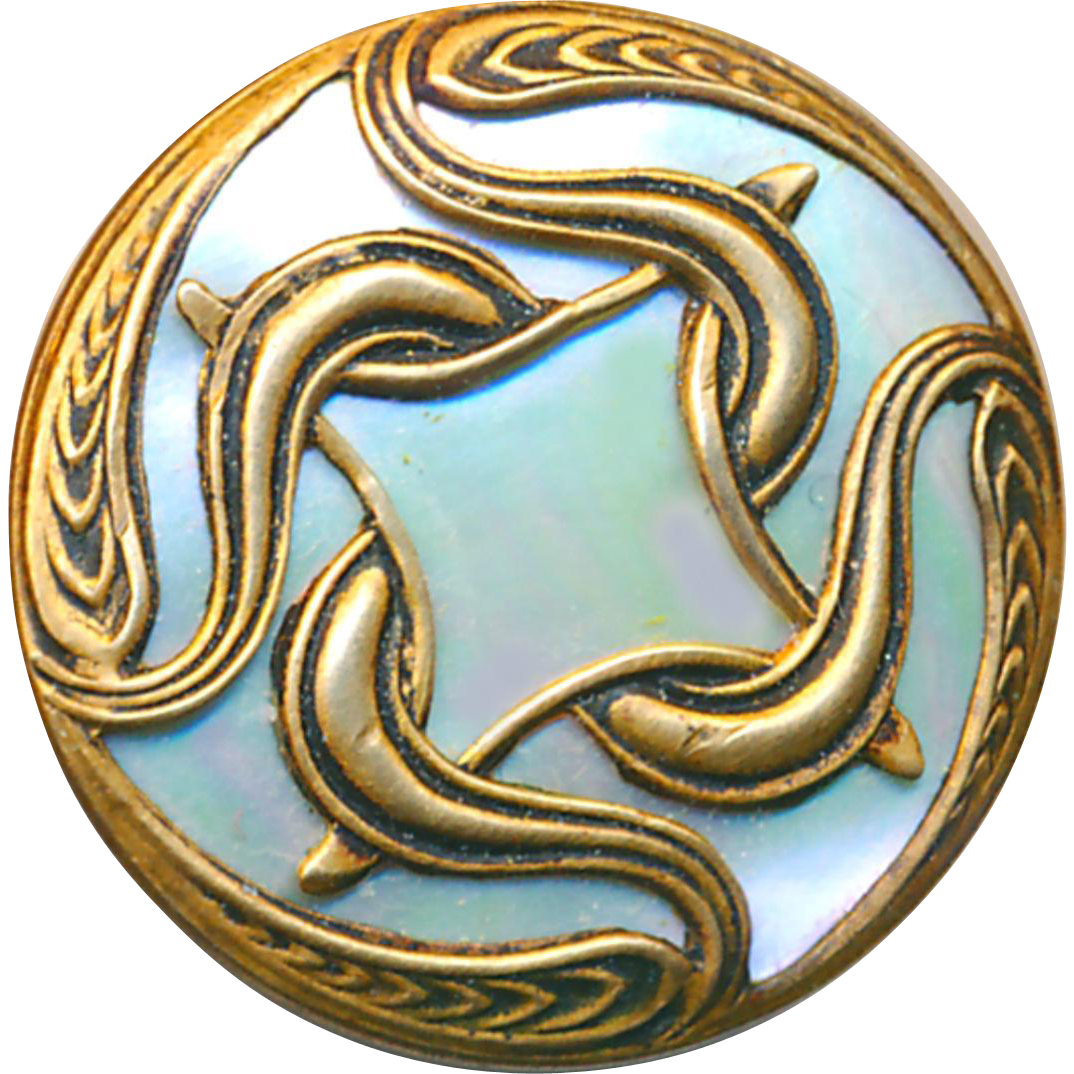 Button--Late 19th C. Iridescent Green Snail Pearl in Art Nouveau Brass
