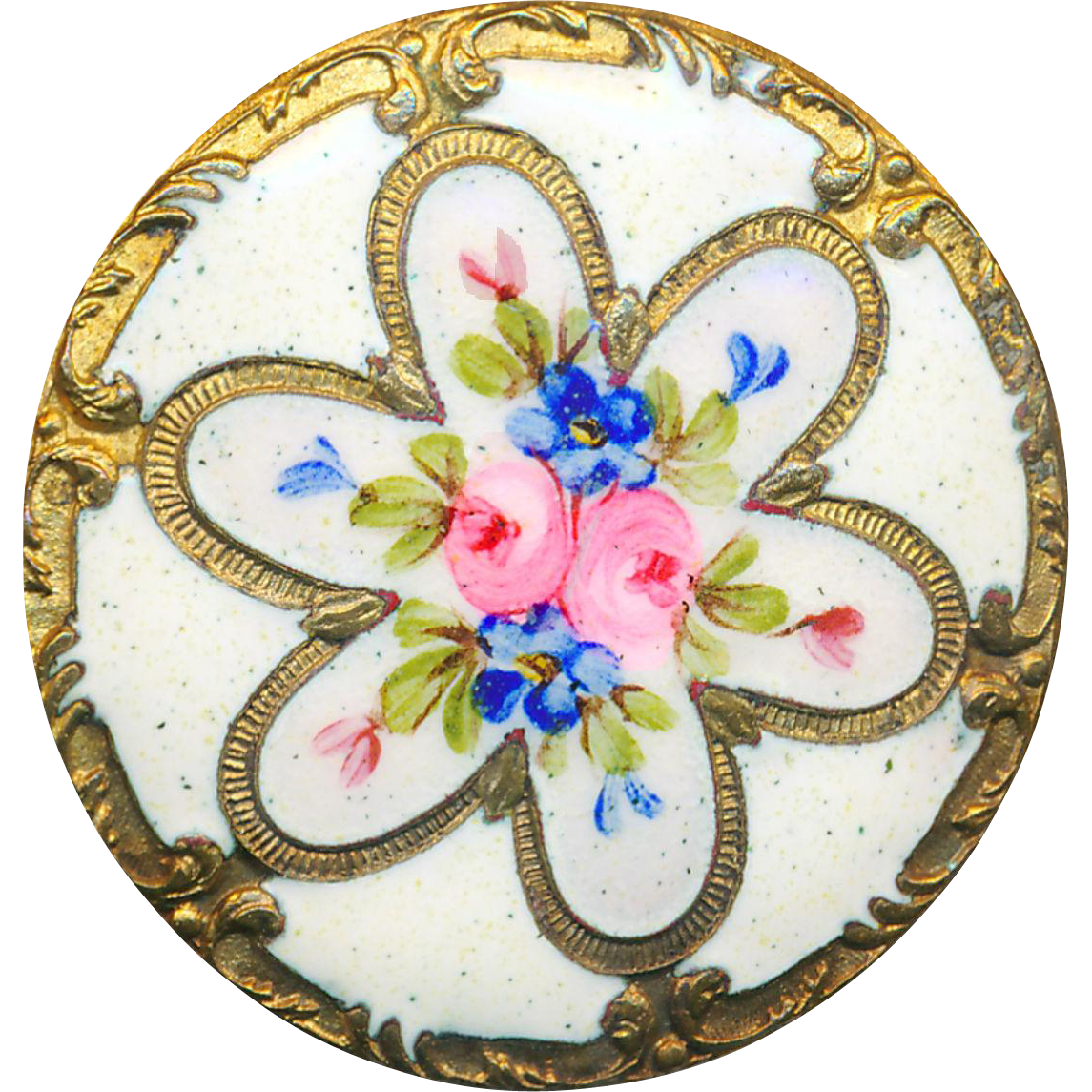Button--Large Elegant 19th C. Rosette Reserve Roses and Forget-me-nots