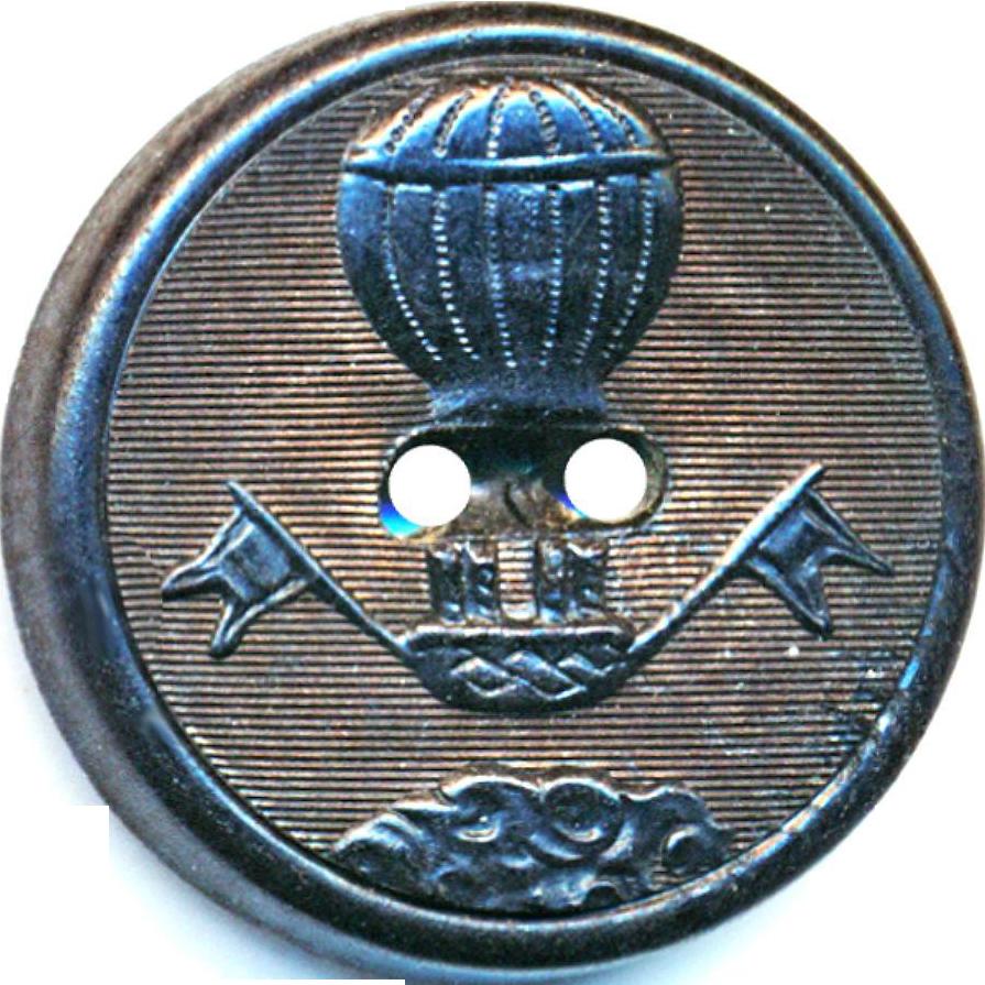 Button--Rare Medium Size 19th C. Dark Horn Aerial Hot Air Balloon Sew-through