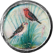 Button--Fine 18th C. Georgian Painting Under Glass Grosbeaks in Silver