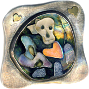 Brooch--Graveyard of Broken Hearts--One-of-a-kind Whimsical Modern Cloisonne in Silver by Enamelist Artist Sue Knopp