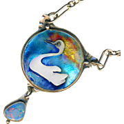 "Necklace ~ Artisan Cloisonne Enamel White Swan on Silver 20"" Chain by Sue Knopp"