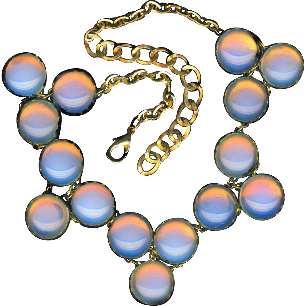 Necklace~Vintage Thick Opalescent Glass Cabochons in Brass