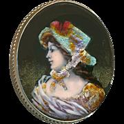 Button ~ Large Lady in Bonnet Vintage French Limoges Foil Enamel in Sterling