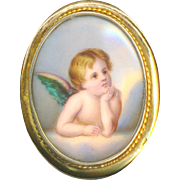 Brooch--Large Late 19th C. 14 Karat Gold Hand Painted Porcelain Cherub or Angel