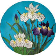 Button--SOLD--Extra Large Exquisite Quality 19th C. Japanese Cloisonne Enamel Irises