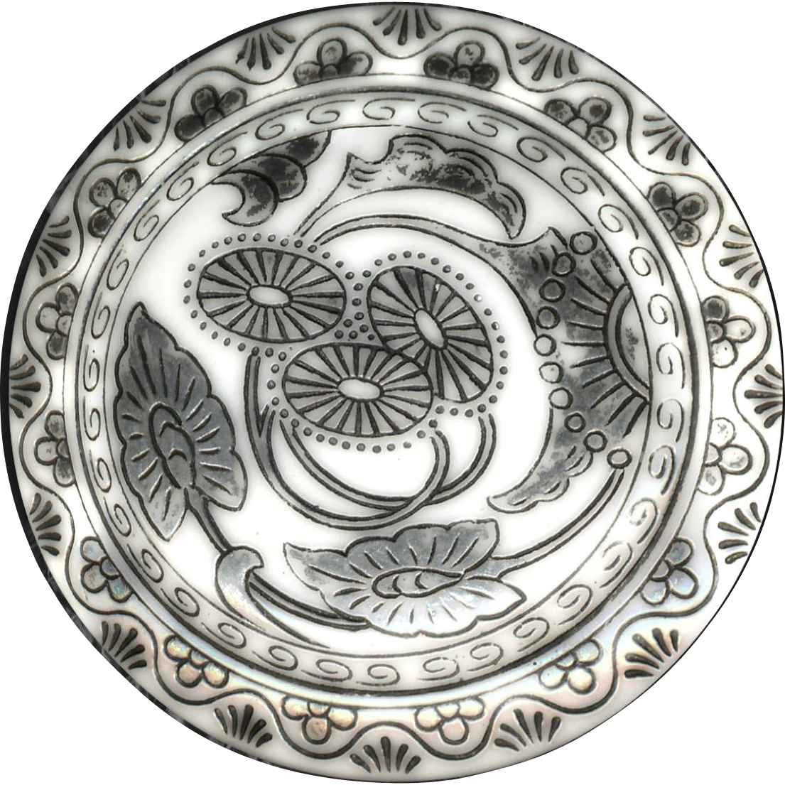 Button--Uncommon Extra Large Silver Resist Late Victorian White Glass Lotus and Leaf (Florafoliate)