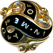 Button--Rare Late Georgian 18 Karat Gold & Enamel Mourning Waistcoat